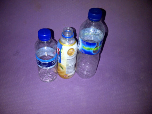 Fig 1: We use 2 small bottles and 1 medium bottle. Respectively bottle 1, bottle 2, and bottle 3.