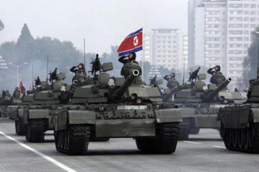 North Korean tanks on parade in Pyongyang, 2010