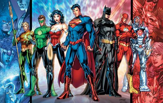 Aquaman, Green Lantern, Wonder Woman, Superman, Batman, Flash, and Cyborg Ready for Battle