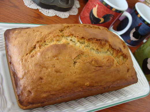 Typical cracking on top adds to this quick bread's humble charm.  Enjoy!