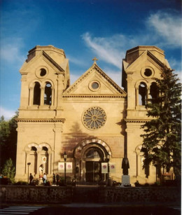 Cathedral Basilica of Saint Francis of Assisi is located in downtown Santa Fe near the main plaza