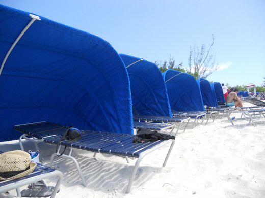 Lounge Chairs on the beach of Carnival's Private Island