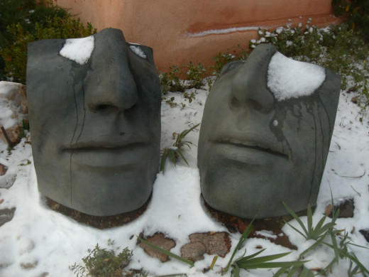 Two faces displaying a small accumulation of snow, picture taken on Canyon Road
