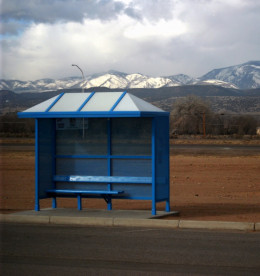 Blue bus shelter at the Ohkay casino just north of Espanola
