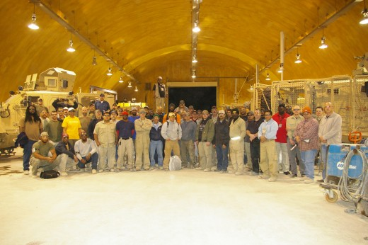 An authorized group picture of myself and coworkers of ManTech Intl. at Kandahar Airfield 2012