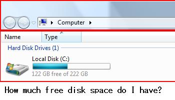 Check your computer to see how much free disk space you have