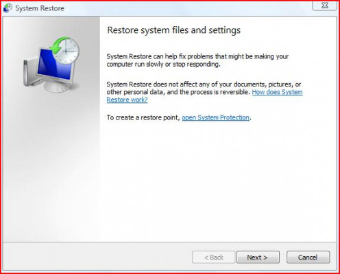 This is what you'll see when you open System Restore