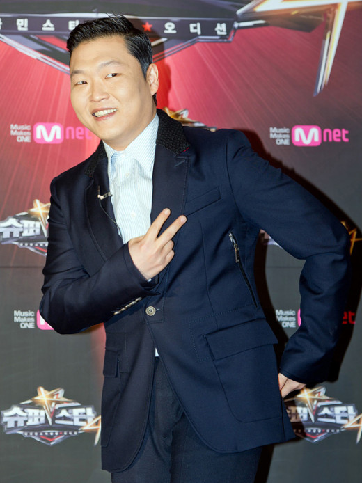 Psy in March 2012, during a press conference for a Korean television show Superstar K4.