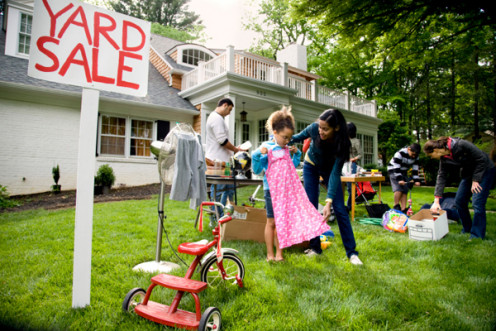Yard sale or garage sale helps you to reuse old things and clothes