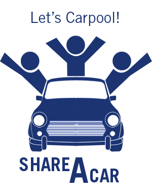 Let's us share a ride, a carpool to bond friendship and reduce gas emission