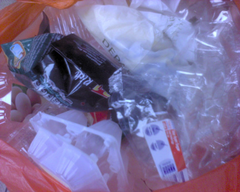 Collect bags of plastic products