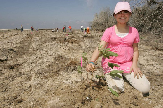 Girl Scout volunteers with her troop to plant new trees.