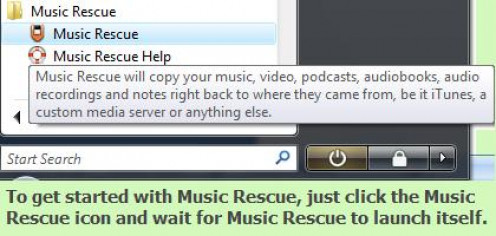 Upon installing Music Rescue, you can find it in your list of programs from the Start menu. You can even create a shortcut on your desktop so you can easily access Music Rescue.