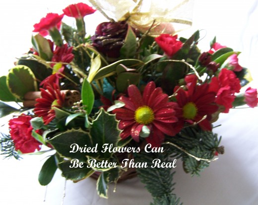 Gifts for People in Care Homes.  Dried Flowers can be Better than Real.  Source: Author