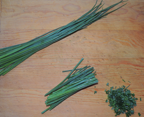 chive prep zig-zagging down--set aside when done