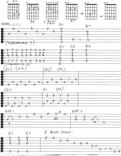 Guitar Tab for E Blues