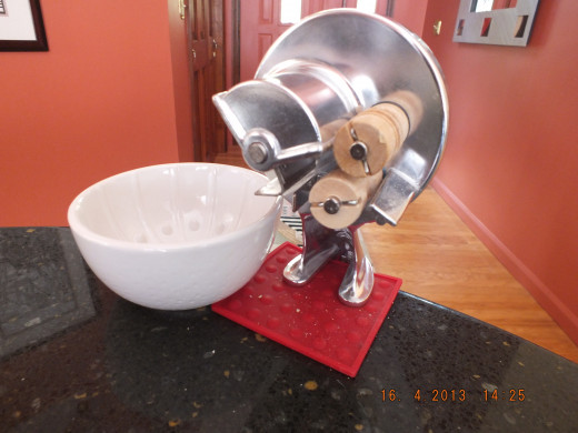 The machine is ready. If you don't have one you can always roll the pasta out into gnoochi or other pasta shapes.