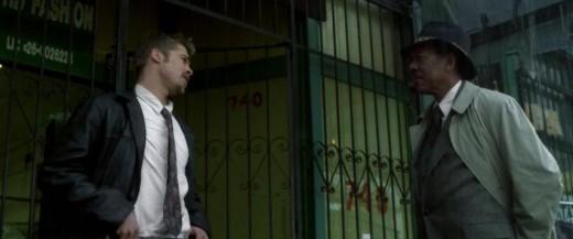 David Mills (Brad Pitt) and William Somerset (Morgan Freeman) © New Line Cinema