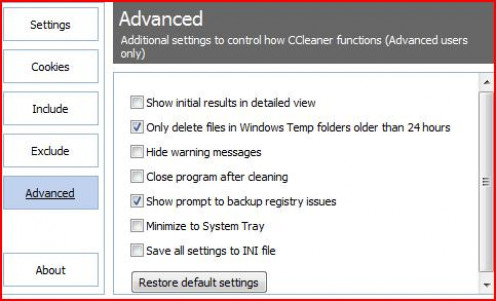The Advanced tab of CCleaner