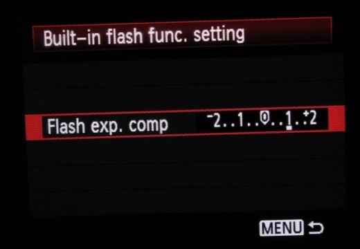 flash compensation settings Canon 1100D