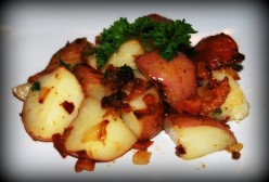 Island Bites:  Papas Salteadas con Tocineta (Sweet and Sour Warm Potato & Bacon Salad)
