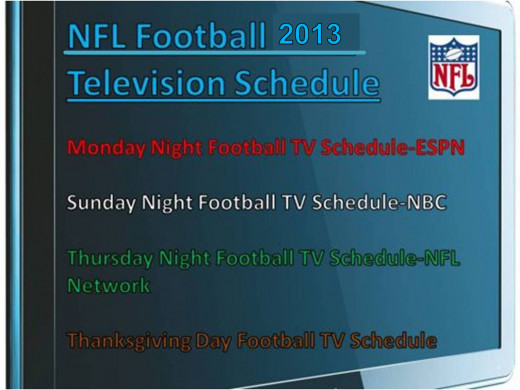 The 2013-2014 NFL Football TV Schedule on ESPN, NBC and NFL Network