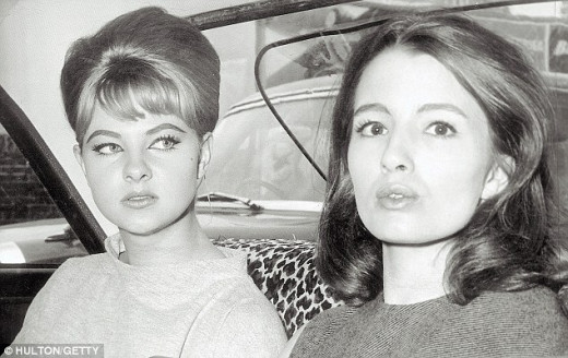 Mandy Rice-Davies, left, with Christine Keeler