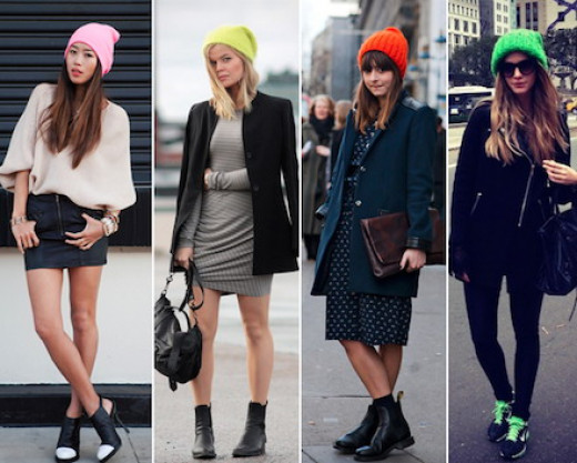 Casual style dresses and clothes for women with beanies