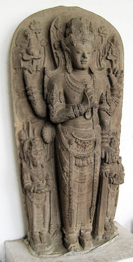 This statue is the mortuary deified potrayal of King Kertarajasa (Raden Wijaya), the first king of Majapahit (rule 1293-1309).