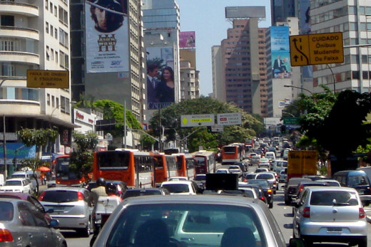 Traffic in Sao Paulo, Brazil. It looks worse than in my hometown of Washington, D.C.!