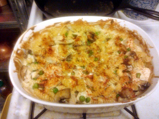 Turkey Tetrazzini - brown and bubbly ... straight from the oven