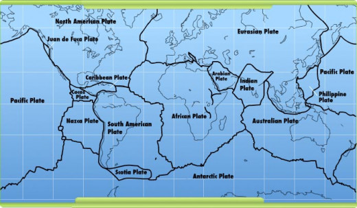 This map shows how and where the tectonic plates of the Earth meet.