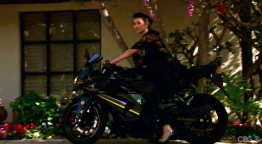 Steffy gave herself away arriving on a black motorbike