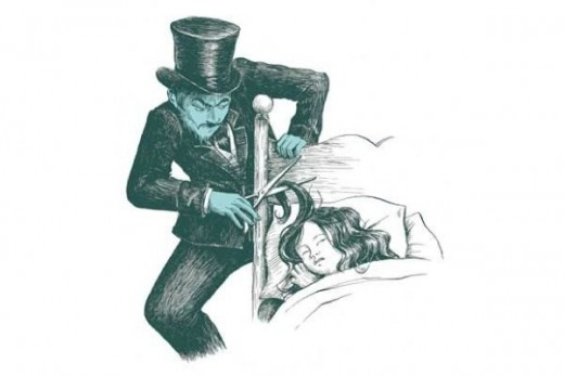 "An imaginative rendering of the ""Phantom Barber"""