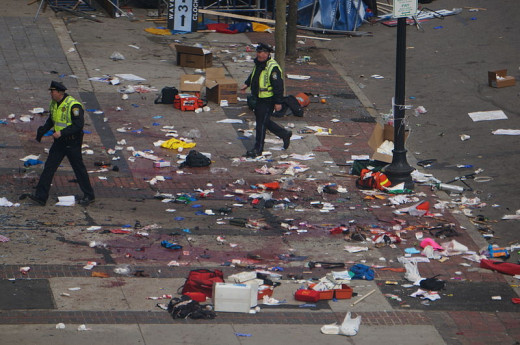 The aftermath of the Boston Marathon terrorist explosion