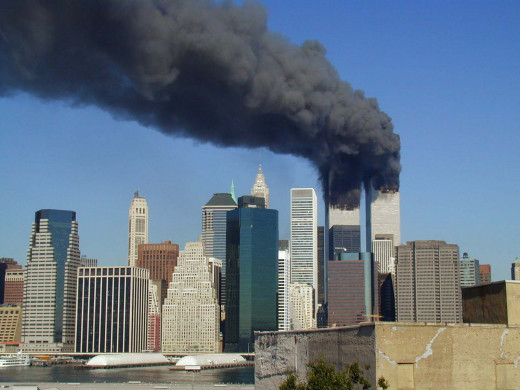 The Twin Towers on fire on 9/11/01