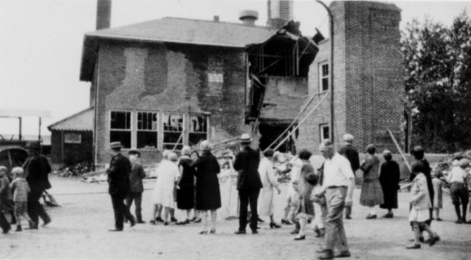 The aftermath of the Bath School explosion