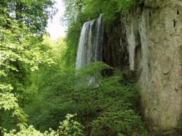 """Papuk also has rushing waterfalls and many beautiful walking trails.  This waterfall is nicknamed """"Grasshopper"""" fall, or"""