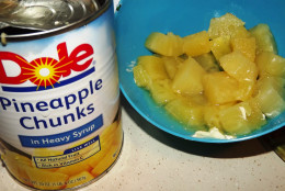 Use pineapple slices or chunks for this recipe.