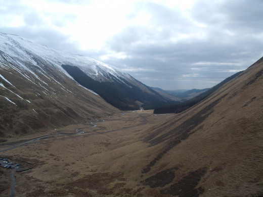 The view when ascending the rocky path at Grey Mare's Tail. The carpark is on the bottom left hand corner of the photograph.