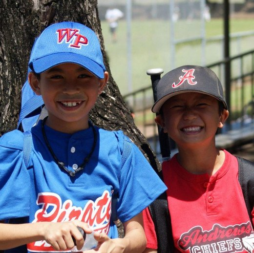 Grand-Nephews Micah and Noah at Walter Victor Baseball Park in Hilo, Hawai'i