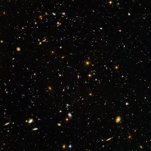 A photograph taken by the Hubble telescope of the second largest extent of the universe.