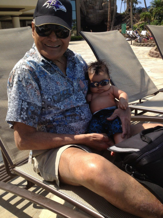 Dad and the Youngest Great-Grandson, Kahanohaweo, a Future All-Star Baseball Player