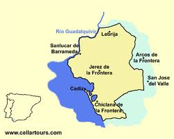 Map of the Spanish sherry region of Spain located in the region of Andalucia in the Jerez area.