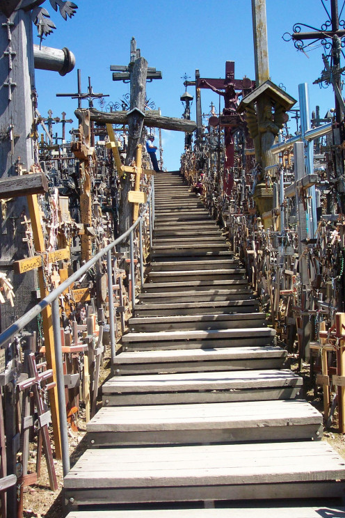There are stairs criss-crossing the hill, making examination of the crosses easier.
