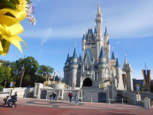 Cinderella's Castle in Walt Disney World's Magic Kingdom, in Orlando, Florida. Ride a horse-drawn carriage (with storage for strollers in the back) to the park's center, cutting the time it takes to get to your first attraction, Peter Pan's Flight.