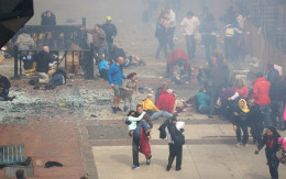 The scene of the Boston Marathon Bombing, April 15, 2013, just minutes after the explosion