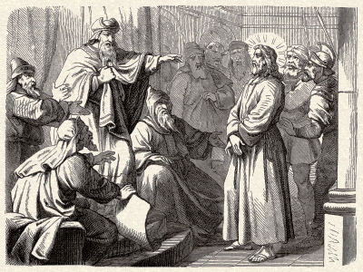 Jesus stands accused by the 70-member body of Jewish scholars known as The Sanhedrin.