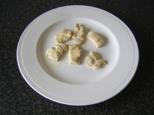 Pan fried chicken pieces