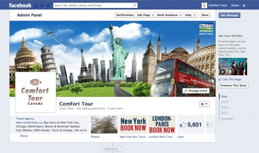Facebook Page Design for Comfort Tour Canada